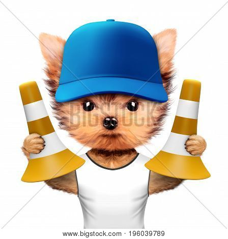 Funny dog in baseball cap holding traffic cones isolated on white background. Constructor and handyman concept. 3D illustration