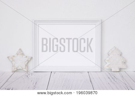 Stock Photography White Frame Vintage Painted Wood Table Retro Star Christmas Tree Deco Craft