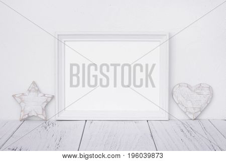 Stock Photography White Frame Vintage Painted Wood Table Retro Star Heart Deco Craft