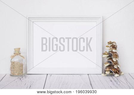 Stock Photography White Frame Vintage Painted Wood Table Glass Bottle Turtle Seashell Craft Decorati