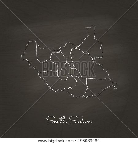 South Sudan Region Map: Hand Drawn With White Chalk On School Blackboard Texture. Detailed Map Of So