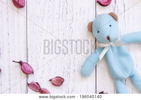 Stock Photography Vintage White Painted Wood Table Cute Blue Bear