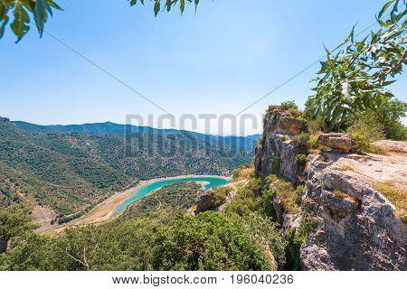Reservoir Pantano De Siurana, Tarragona, Catalunya, Spain. Top View.