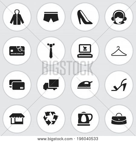 Set Of 16 Editable Shopping Icons. Includes Symbols Such As Reticule, Hanger, Credit Card And More