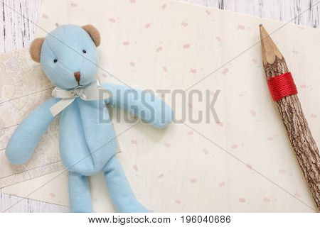 Stock Photography Flat Lay Text Letter Envelope Cute Blue Bear Wood Pencil