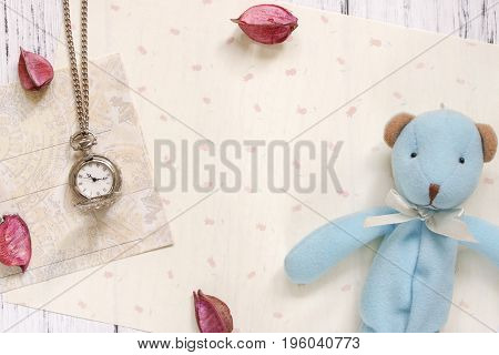 Stock Photography Flat Lay Text Letter Envelope Pocket Clock And Cute Blue Bear Doll