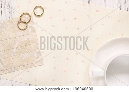 Stock Photography Flat Lay Text Letter Envelope Coffee Cup And Rings