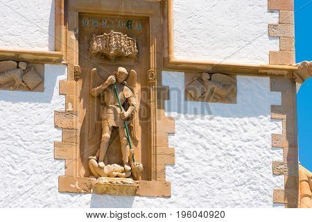 Sculpture And Bas-reliefs On The Building Of The Museum Marisel De Mar, Sitges, Barcelona, Catalunya