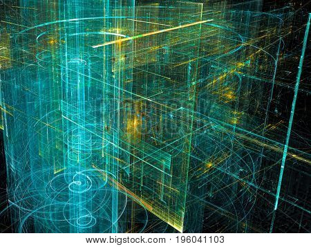 Sci-fi or technology background - abstract computer-generated image. Fractal art: composition of chaotically arranged luminous lines and curls. Future city or information technology concept backdrop.