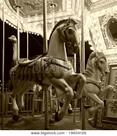carousel horse ride in black and white