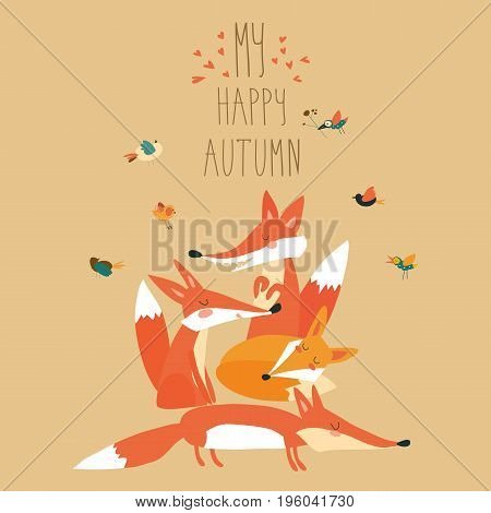 Cute foxes with birds. Vector autumn illustration