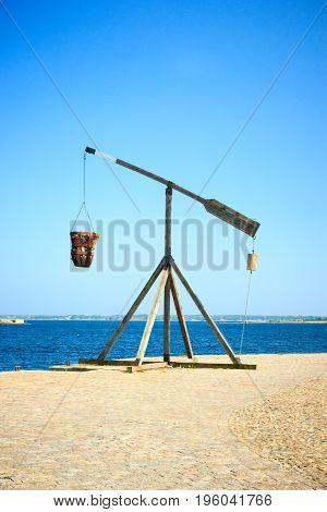 Old wooden crane in port of Karlskrona town, Sweden