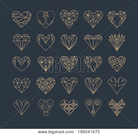 Set of simple line icons of hearts. Love. Wedding. Valentine s Day. Geometric style