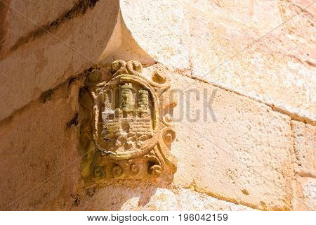 The Bas-relief On The Wall Of The Building, Sitges, Barcelona, Catalunya, Spain. Close-up.