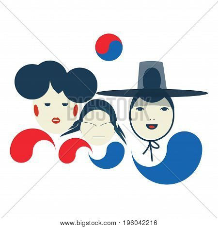 Vector illustration for The National Liberation Day of Korea also called Gwangbokjeol which celebrated on August 15. Taegeuk Korean family: father with a traditional Gat hat on mother and a child.