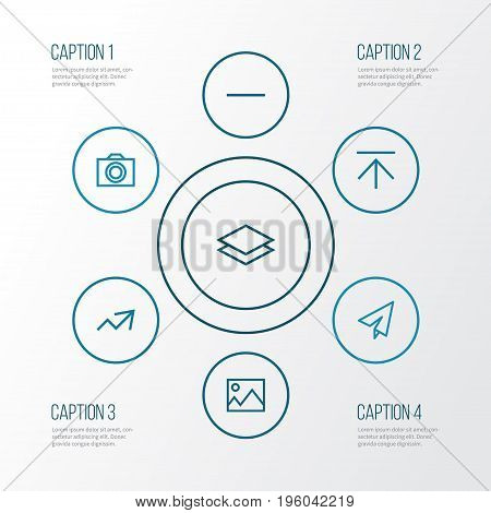 User Outline Icons Set. Collection Of Camera, Upload, Send And Other Elements