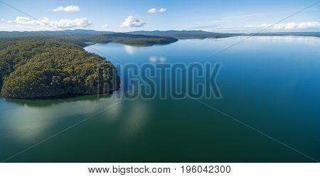Aerial Panoramic view of Wallagaraugh River at Croajingolong National Park Australia