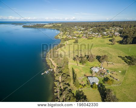 Aerial view of Mallacoota town Victoria Australia