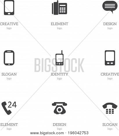 Set Of 9 Editable Phone Icons. Includes Symbols Such As Tablet, Forum, Home Cellphone And More
