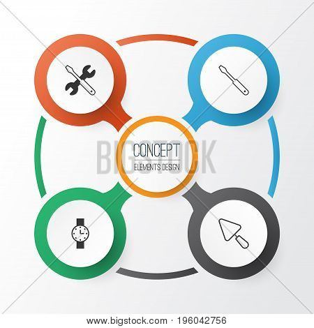 Tools Icons Set. Collection Of Timer, Screwdriver With Wrench, Turn Screw And Other Elements