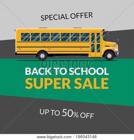 Back to School Sale banner vector illustration