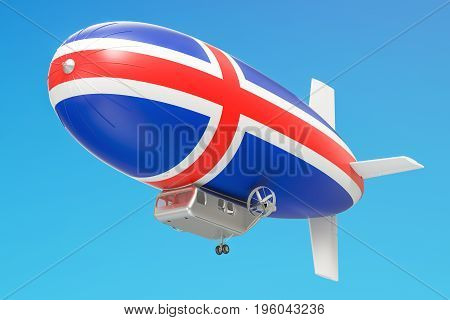 Airship or dirigible balloon with Icelandic flag 3D rendering