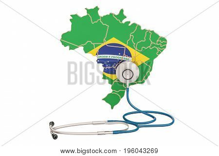 Brazilian map with stethoscope national health care concept 3D rendering