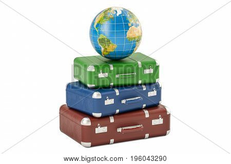 Earth Globe on heap of suitcases travel concept. 3D rendering isolated on white background