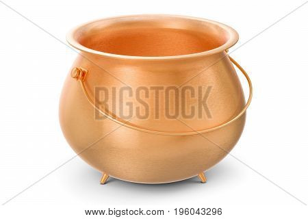 Empty Golden Pot 3D rendering isolated on white background