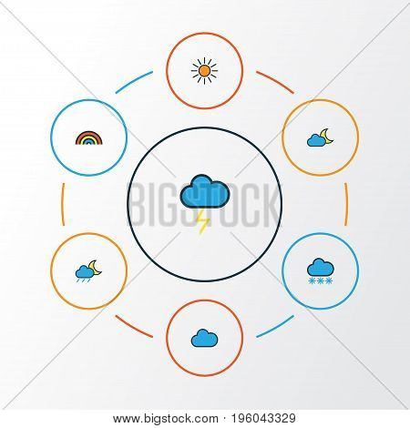 Air Colorful Outline Icons Set. Collection Of Rainbow, Sunshine, Cloudburst And Other Elements