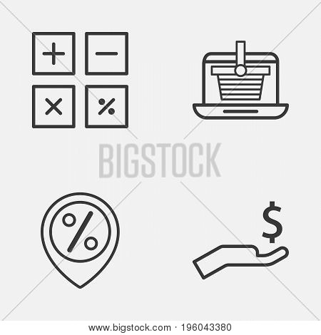 Commerce Icons Set. Collection Of Discount Location, E-Trade, Calculation Tool And Other Elements