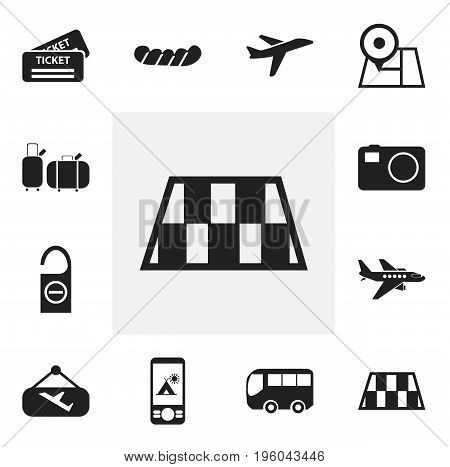 Set Of 12 Editable Holiday Icons. Includes Symbols Such As Suitcases, Navigation, Motorbus And More