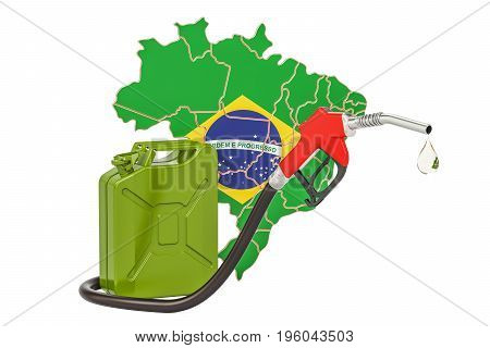 Production and trade of petrol in Brazil concept. 3D rendering isolated on white background