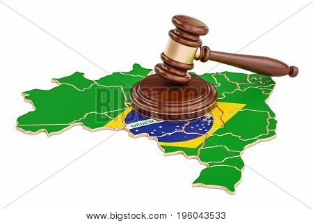 Wooden Gavel on map of Brazil 3D rendering isolated on white background