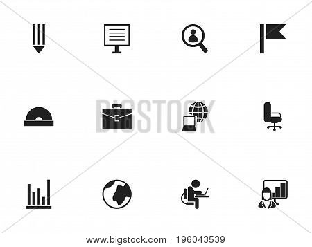 Set Of 12 Editable Office Icons. Includes Symbols Such As Pencil, Display, Earth And More