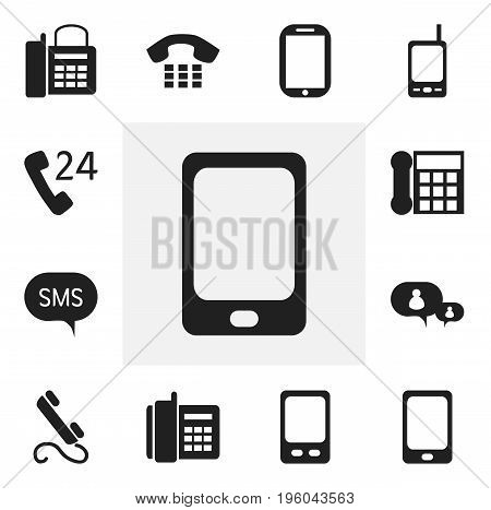 Set Of 12 Editable Phone Icons. Includes Symbols Such As Smartphone, Tablet, 24 Hour Servicing And More