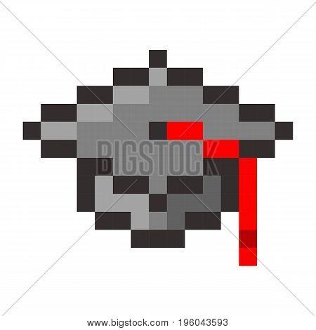 Graduation cap pixel art cartoon retro game style set