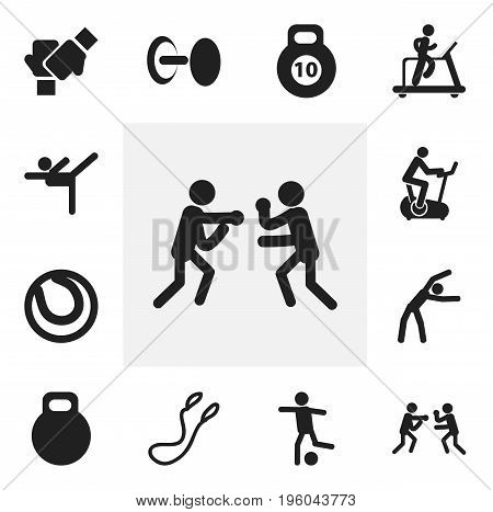 Set Of 12 Editable Exercise Icons. Includes Symbols Such As Jogging, Fight, Strength And More