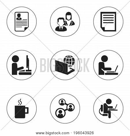 Set Of 9 Editable Office Icons. Includes Symbols Such As Person Working On Computer, Staff, Worker In Laptop And More