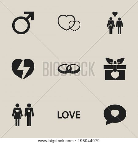 Set Of 9 Editable Love Icons. Includes Symbols Such As Married, Proclamation, Family And More