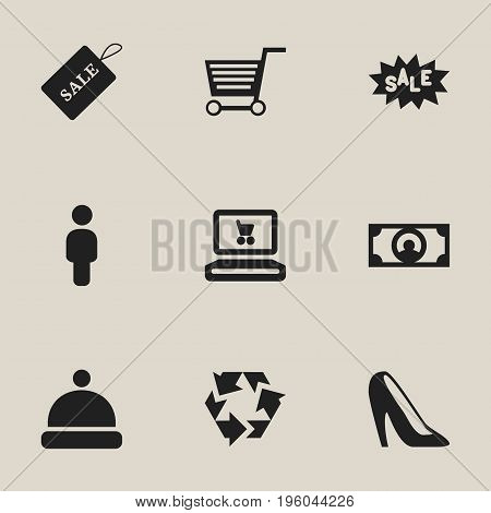 Set Of 9 Editable Shopping Icons. Includes Symbols Such As Stiletto, Headgear, Human And More