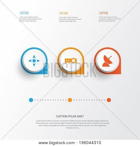 Multimedia Icons Set. Collection Of Arrow, Presentation, Satellite And Other Elements