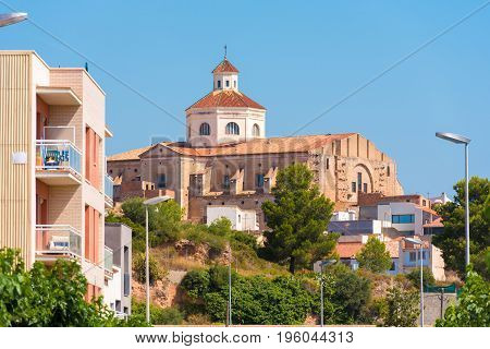 View Of Mont-roig Del Camp And The Church Of St. Miguel, Tarragona, Catalunya, Spain. Copy Space For