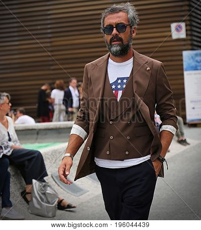 FLORENCE- 13 June 2017 Daniele Biagioli on the street during the Pitti