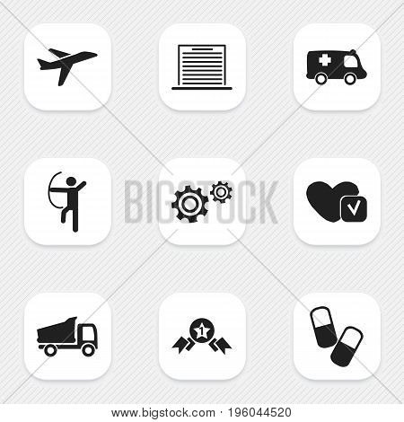 Set Of 9 Editable Complex Icons. Includes Symbols Such As Emergency, Award, Truck And More