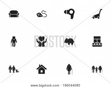 Set Of 12 Editable Folks Icons. Includes Symbols Such As Moneybox, Family, Canape And More