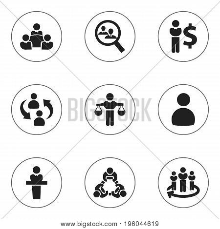 Set Of 9 Editable Business Icons. Includes Symbols Such As Human Resouces, Team, Teamwork And More