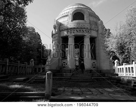 Mausoleum of the manufacturer. Lodz, Poland - October 05, 2014 Izrael Poznanski Mausoleum at Europe's largest Jewish cemetery in Lodz.