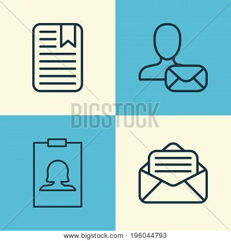 Network Icons Set. Collection Of Note Page, Online Letter, Read Message And Other Elements
