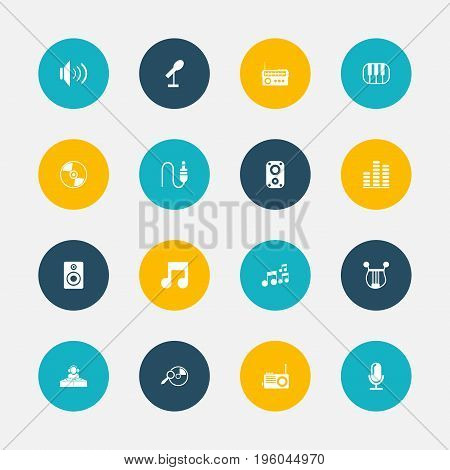Set Of 16 Editable Multimedia Icons. Includes Symbols Such As Piano, Tone, Sound Amplifier And More